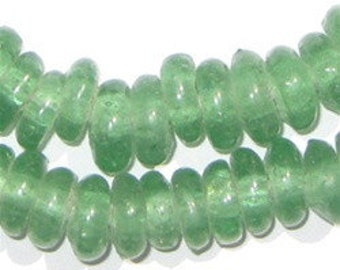 100 Recycled Glass Beads Rondelle - Tribal Glass Beads - Ethnic Glass Beads - Powder Glass Beads - Green Spacer Beads (RCY-DISK-GRN-579)