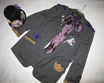 MAD HATTER Alice in wonderland fantasy  COSTUME men's size 50L unique one of a kind ready to ship cosplay gray stripe  jacket top hat