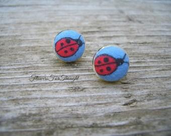 Ladybug Earrings, Tiny Ladybugs for Flowergirls, Girls Button Post Earrings, Flowergirl Wedding Jewelry, FFT original design