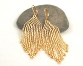 Beaded Fringe Earrings . Golden Seed Bead Fringe Earrings . Short Fringe Earrings . Fringe Jewelry