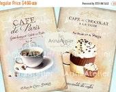 30% OFF SALE - Cafe de Paris Cards- Large Images - Backgrounds - 5x7 inch - Digital Print - Ephemera Sheet - to print on- Tote, Bags, t-shir
