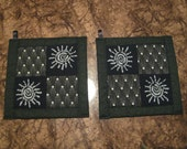 Black and White Sun  Kitchen Potholder Set