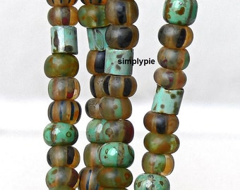2/0 Ghost Island Striped w Tile Tube Picasso Mix 6-Inch Strand Aged Glass Seed Beads