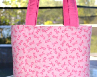 Breast Cancer Awareness Tote Bag / diaper bag / baby bag / handmade diaper bag - Breast Cancer Awareness