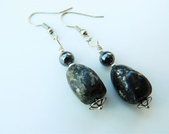 Healer's Gold Fashion Dangle Earrings with Hematite: Protection Grounding