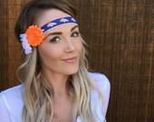 Denver Broncos Headband Blue White Orange Band Shabby Chic Flower Fashion Navy Hair Football Women Girl Cute Colorado Game Accessory