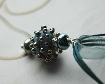 Boho Metallic Earthy Blue Sunburst Pendant Necklace