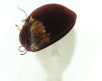 Oxblood BERET HAT for Women - Elegant Women's Hat- W omens Winter Hat - Women's Wedding Hat - Ladies Hats - Millinery Hats - Handmade Hat