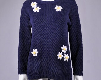 Vtg 1990's CHUNKY KNIT Navy Blue Daisy Flower Power Sweater Sm Petite Small PS