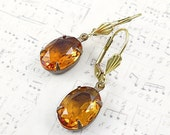 Topaz Rhinestone Earrings Honey Earrings Topaz Drop Earrings Bridal Earrings November Birthstone Citrine Earrings