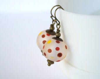 Polka Dot Earrings, Lampwork Glass Earrings, Orange Red Earrings, Glass Bead Earrings