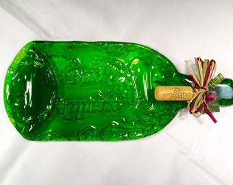 Large Bon Appetit Embossed Repurposed Slumped bottle Cheese Tray with Cork Cheese Spreader