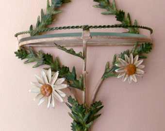 SaLE Vintage Italian Tole Daisy Wall Sconce Shelf  Cottage Shabby Chic Beach House