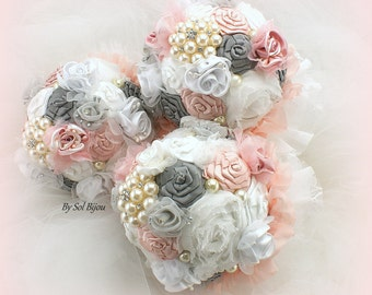 Bridesmaids Bouquets, Pink, Gray, Grey, White, Brooch Bouquets, Vintage Style, Lace Bouquets, Maid of Honor, Elegant, Toss Bouquet, Pearls