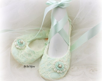Ballet Flats, Mint, Mint Green, Ivory, Lace Flats, Elegant Wedding, Bridal Flats, Shoes, Ballerina Slippers, Flower Girl, Flats, Spring