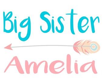 Big Sister Shirt, Big Sister TShirt Personalized, Feather Arrow