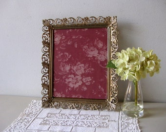 Vintage picture frame gold and white 1950s metal picture frame