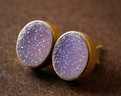 40 OFF SALE Gold Rosy Pink Agate Druzy Gemstone Studs - Oval Post Earrings - Candy Pink