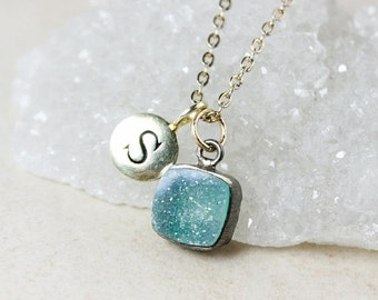 ON SALE Initial Charm and Turquoise Blue Druzy Necklace – Sterling Silver or 14K Gold Filled Chain
