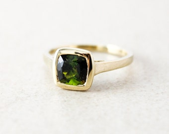 Gold Green Tourmaline Cushion Cut Ring - 10Kt Yellow Gold - Engagement Ring