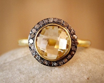 CLEARANCE SALE Light Citrine Pave Diamond Ring - Gemstone Ring - Anniversary Gifts, November Birthstone
