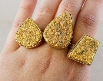 Gold Druzy Ring – Select Your Shape