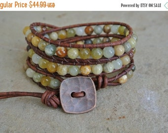 SUMMER SALE Juniper Jasper Beaded Leather Wrap Bracelet