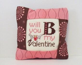 Valentine Pillow, Cross Stitch Pillow, Valentine Home Decor