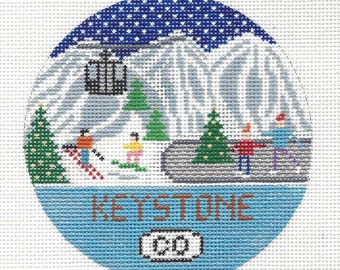 Hand painted needlepoint canvas Keystone, Colorado