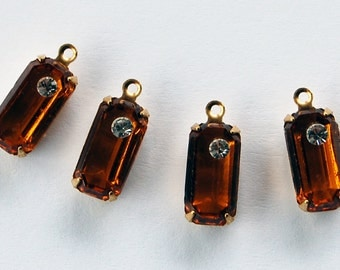 Vintage Topaz Glass & Rhinestone Octagon 4 Pendant Beads 12x6mm