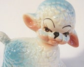 Vintage Nursery Made in Mexico Blue and White Lamb, Baby Boy Lamb, Nursery Figurine, Lamb Figurine, Childs Room Figurine, New Baby Boy