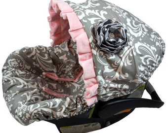 Ritzy Baby Grey Damask All Cotton, Infant Car Seat Cover Set Including Strap Set