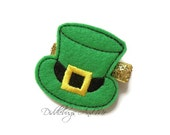 St Patrick Hat Hair Clip, Green Hat Hair Clip, Girls Hat Hair Clip, Girls Hair Clip, St Patrick Hair Clip, Hair Clips For St Patricks Day