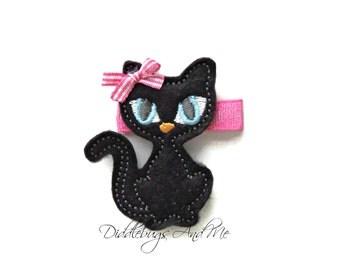 Black Cat Hair Clip, Kitty Hair Clip, Girls Cat Hair Clip, Animal Hair Clip, Toddler Hair Clips, Felt Hair Clips, Black Kitty Hair Clips