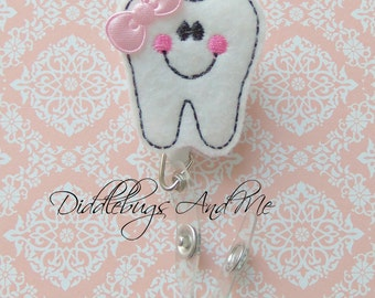 Tooth Badge Reel, White Happy Tooth Retractable Badge Reel, Tooth ID Dental Badge Reel, Medical Badge Reel, Retractable Badge Reel, Nurse ID