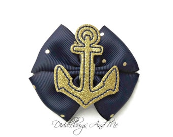 Navy and Gold Boutique Hair Bow, Gold Anchor Hair Bow,  Nautical Hair Bow, Girls Nautical Bow, Toddler Hair Bows, Girls Hair Accessories,