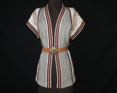1970's tribal sweater vest. boho earthy cardigan. medium / large.