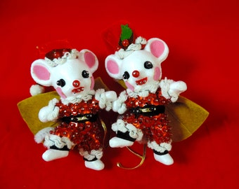 vintage mouse christmas ornaments 50s beaded kitsch mice mixed media