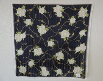 Carlos Falchi cotton scarf. navy gold coins and white roses.  new old stock.