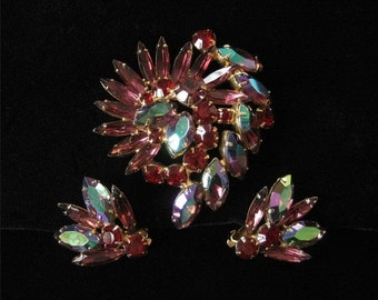 Purple and Red Rhinestone Demi, Brooch and Earring Set