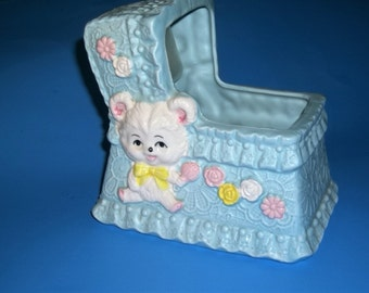 Musical Nursery Planter with White Teddy Bear