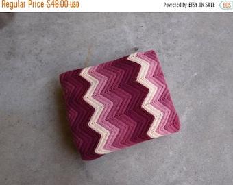 SALE SALE SALE Vintage Afghan Blanket Wool Plum Pink Cream Chevron Stripes Crocheted Ripple Home Decor