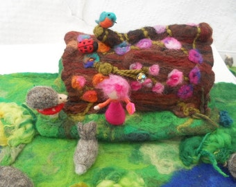 Felted hollow log fairy tree house waldorf hand felted play scape play mat play item hedgehog rabbit kingfisher ladybug