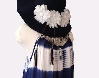 Navy Blue Tiedye cotton maxi sundress- Resort wear by Gina Louise