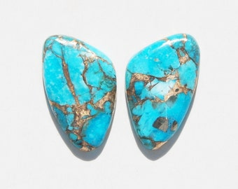 Kingman Turquoise Infused with Bronze Cabochon Pair