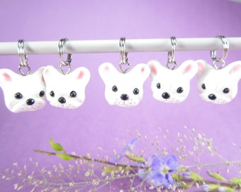 White French Bulldog Stitch markers set of 5 polymer clay dog, gift for knitters, knitting stitch markers, dog charms, Frenchie, animal, pet
