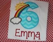 Rainbow birthday shirt or dress - baby bodysuit, tshirt, or dress- any number