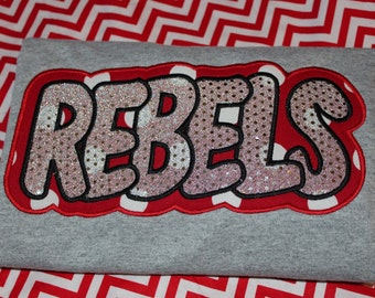 Rebels School sports tshirt- you pick colors and fabric for boy, girl, or adult