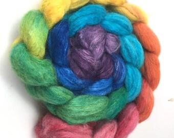 Alpaca/Silk  Combed Top - spinning fiber - Bright Rainbow gradient roving
