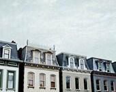 """Lafayette Square St Louis Photograph. """"Painted Ladies"""" Fine Art Print. St. Louis. Blue, Khaki, Gray, White, Architecture"""